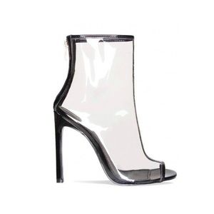 Brand New peep Toe clear ankle boots